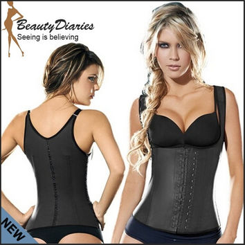 Full Vest Latex Waist Cincher Waist Training Corsets Women's Latex Classic Waist Cincher Semi Vest Latex Girdle Vest Body Shaper = 1930098628
