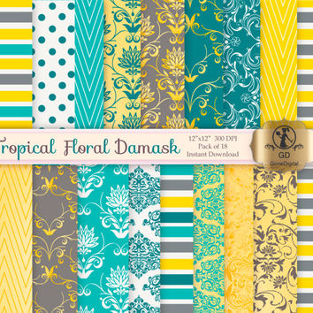 Damask Digital Paper Pack : 'Tropical Floral Damask' - for scrapbooking, crafting, invitations, cardmaking - Yellow Blue Grey Gray
