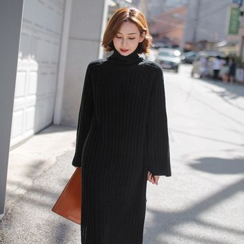 Autumn Winter Solid Color High Collar Medium Style Hem Side Slit Knit Sweater Flare Sleeve Knee-Length dress