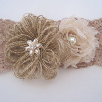 Brides Garter Lace Stretch Garter with Burlap and Chiffon Flowers with Pearl and Rhinestone Accents Bridal Accessories