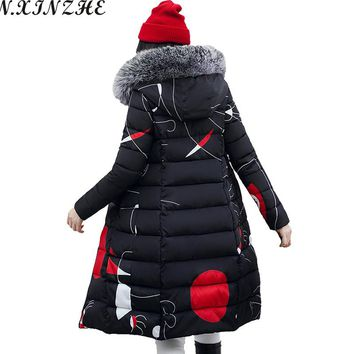 N.XINZHE Reversible Winter Coat women 2017 Fur collar hooded Down Cotton a two-way Jacket Casual Warm Long Jackets Parkas Femme