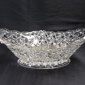 EAPG Glass Daisy and Button Bowl | Oval Diamond Glass Bowl