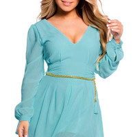Blue Chiffon Layered Romper with Braided Belt