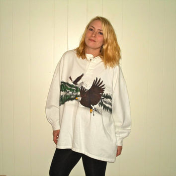 90s Bald Eagle USA Atlanta 1996 Olympics Thermal Long Sleeve Button Sweatshirt