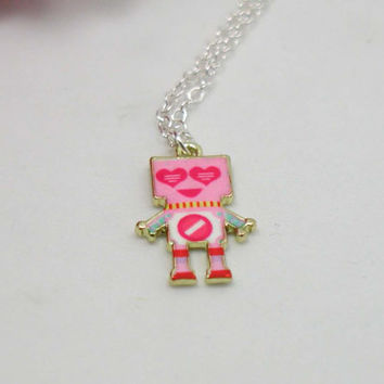 Robot Necklace - Robot Pendant - Robot Charm - Geek Necklace - Miniature Robot - Tech Lover - Geek Jewelry - Nerd Necklace - Girlfriend Gift