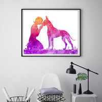 Pets gift Great Dane print Woman with great Dane Dog print Dog poster Kissing her dog Modern wall art Poster print ArtPrintsByChrista