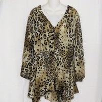 Allison Taylor Blouse Size 2X Tunic Top Animal Print