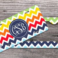 Set of TWO - Navy blue monogram circle on Colorful chevron, customized License plate and License Plate Frame, personalized car tags - 183