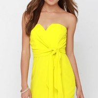 Side of the Story Chartreuse Strapless Dress