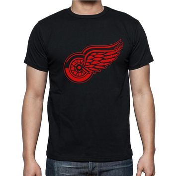 New Detroit Red Wings T-shirt cotton Big & Tall Logo Fashion Wings Short Sleeve hip hop t shirt O Neck T Shirt men Camisa XS-XXL