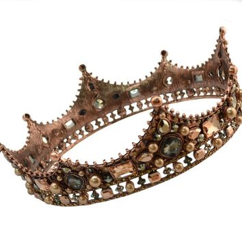 Cool 2018 New Arrived Vintage Luxury Bridal Handmade Lace Veil Hair Jewelry Crystal King Queen Crown&Tiaras Women Charms AccessoriesAT_93_12