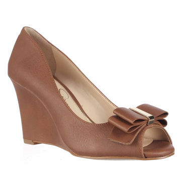 Jessica Simpson Lynden Wedge Bow Pumps - Almond