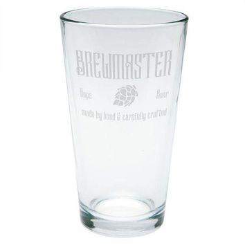 CREYON Brewmaster Beer Hops Hand Crafted Etched Pint Glass