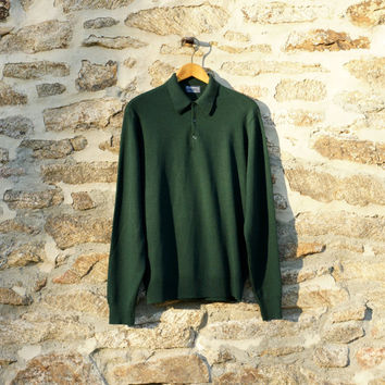 Vintage Burberry's Merino Wool Sweater; 1980s Vintage Sweater; Burberry Jumper; Forest Green Polo Shirt; Men's Size Large