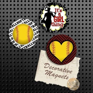 Softball Magnets, It's a Girl Thing, Girl Softball Gift Set, Fridge Magnets, Set of 3 Handmade Wood Refrigerator Magnets, Kitchen Decor