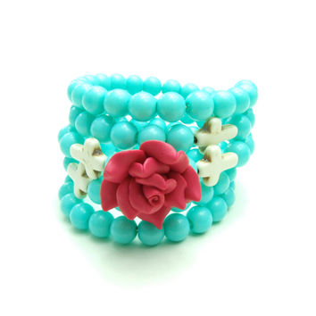 Colorful Rose Wrap Around Memory Turquoise Cross Bracelet, Jewelry