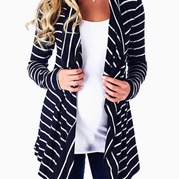 Black Grey Striped Flowy Maternity Cardigan