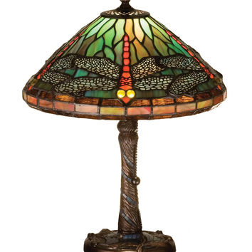 16 Inch H Tiffany Dragonfly W/ Twisted Fly Mosaic Base Accent Lamp