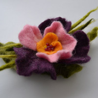Felted Flower Pin Purple Orchid Corsage Brooch - Flower jewelry-  Trending Items  -Christmas gifts for Her - Trending Jewelry