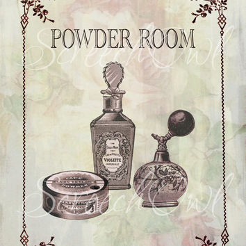 Wall Sign, Powder Room, Bathroom, Typography, Vintage, Printable, Digital, Instant Download