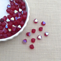 30 pcs, Red Bicone, Ruby, Glass Bead, Fire Polished, Small, 5mm, Matte Finish, Jewelry Making Supplies, A0042