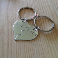 Hand Stamped His Hers Broken Heart Keychains