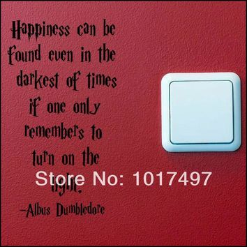 2pcs Funny SWITCH wall decal stickers HARRY POTTER QUOTE TURN LIGHT SWITCH ON WALL ART STICKER DECAL free shipping b3000