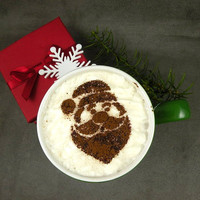 Santa Clause - coffee stencil, hot chocolate, cake stencil, cupcake stencil