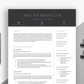 "Professional Resume Template | Creative Modern Resume | CV for Word | Finance Template | Banker CV | ""The Financial Adviser"""