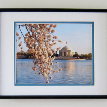 Print Photograph Washington DC Cherry Blossoms 8 x 10 Art Print - Tidal Basin Artwork Tree & Memorial Wall Hanging Home Decor