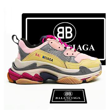 Balenciaga Triple S Low Top Sneaker Women Men Classic Shoes Pink Apricot Grey