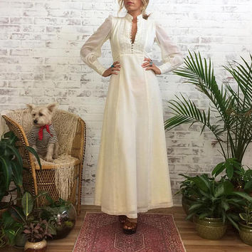 Vintage 1970's Victorian PRARIE Maxi Wedding  Country Dress || Gunne Sax Style || Romantic Dreamer || Size Small
