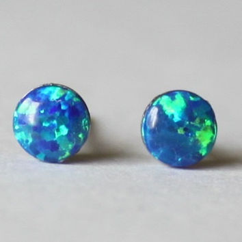 Tiny 4mm Blue Opal Studs, hypoallergenic Titanium opal earring, Silicone ear nuts, Cabochon Gemstone post studs, for sensitive ears