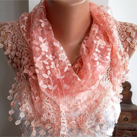 Light Coral Shawl Scarf - Headband with Lace Edge - Silvery