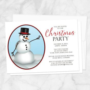 Snowman Christmas Party Invitations - Classy Cute Modern Illustrated Top hat Snowman, Holiday Party or Winter Party - Printed Invitations
