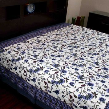 Floral Tapestry Throw Cotton Tablecloth Bedspread Blue Brown Twin 72x106 inch