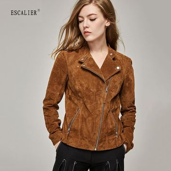 Fashion pig split Leather Jacket Women Zipper Slim Motorcycle Outerwear Coats Genuine Leather Basic Jackets