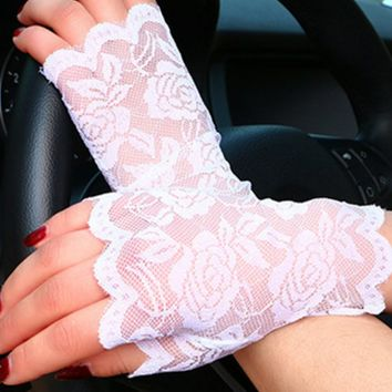 spring summer chic knit flower party etiquette fingerless women driving fishnet gloves Lady Half-finger gloves