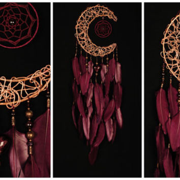 Bordeaux Dream Catcher Moon Dreamcatcher burgundy Dream сatcher Garnet dreamcatchers decor wall handmade vinous gift Valentines Day burgundy