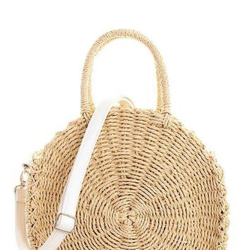 Smooth Woven Straw Bag with Detachable and Adjustable Long Strap
