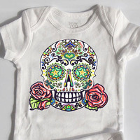 Baby Girl Clothes Tattoo Skull and Roses bodysuit 3 month, 6 month, 12 month White Cotton Rockabilly Baby Grow Punk Rock Baby