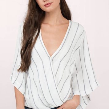 Kimmy Stripe Surplice Blouse