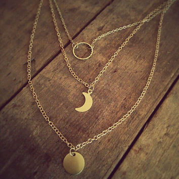 Lunar cycle necklace * Moon phase * Layer gold moon necklace * Gold filled * Personalized gift note * Perfect gift *