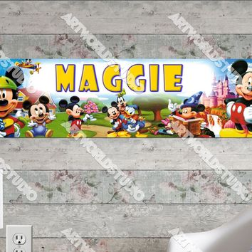 Personalized/Customized Mickey Mouse #2 Poster, Border Mat and Frame Options Banner 164-2