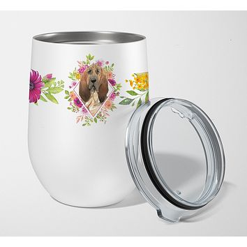 Bloodhound Pink Flowers Stainless Steel 12 oz Stemless Wine Glass CK4259TBL12
