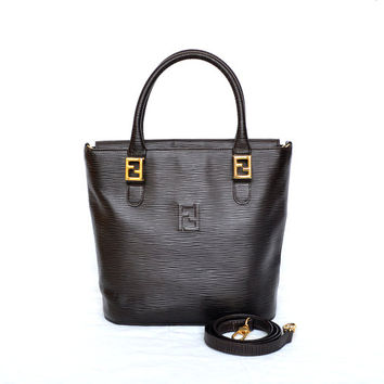 Fendi Epi Leather Double Handle Bucket Bag - Shoulder Bag Gold-tone Hardware Vintage / Authentic