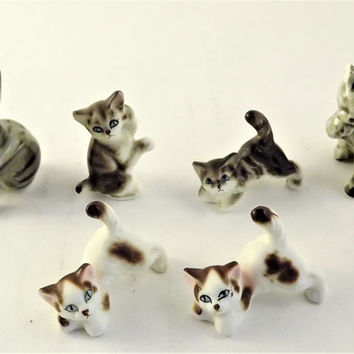 Striped Tabby Cat Figurine, Vintage Miniature Glass Kitten set, Grey Tabby Cat, Porcelain Cat, Brown Striped Cat, Brown & White Spotted Cat