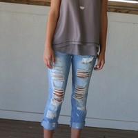 Urban Strolls Light Denim Distressed Jeans