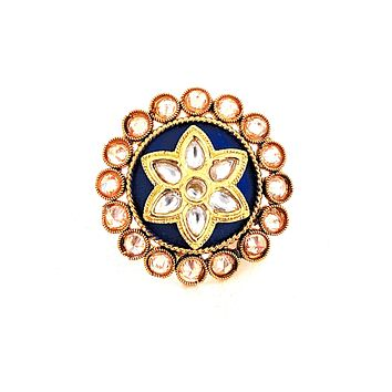 Star center matte meenakari round adjustable Finger ring