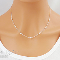 Choose rose gold, silver or gold, Delicate white pearl necklace, Dainty pearl necklace, Elegant white pearl necklace